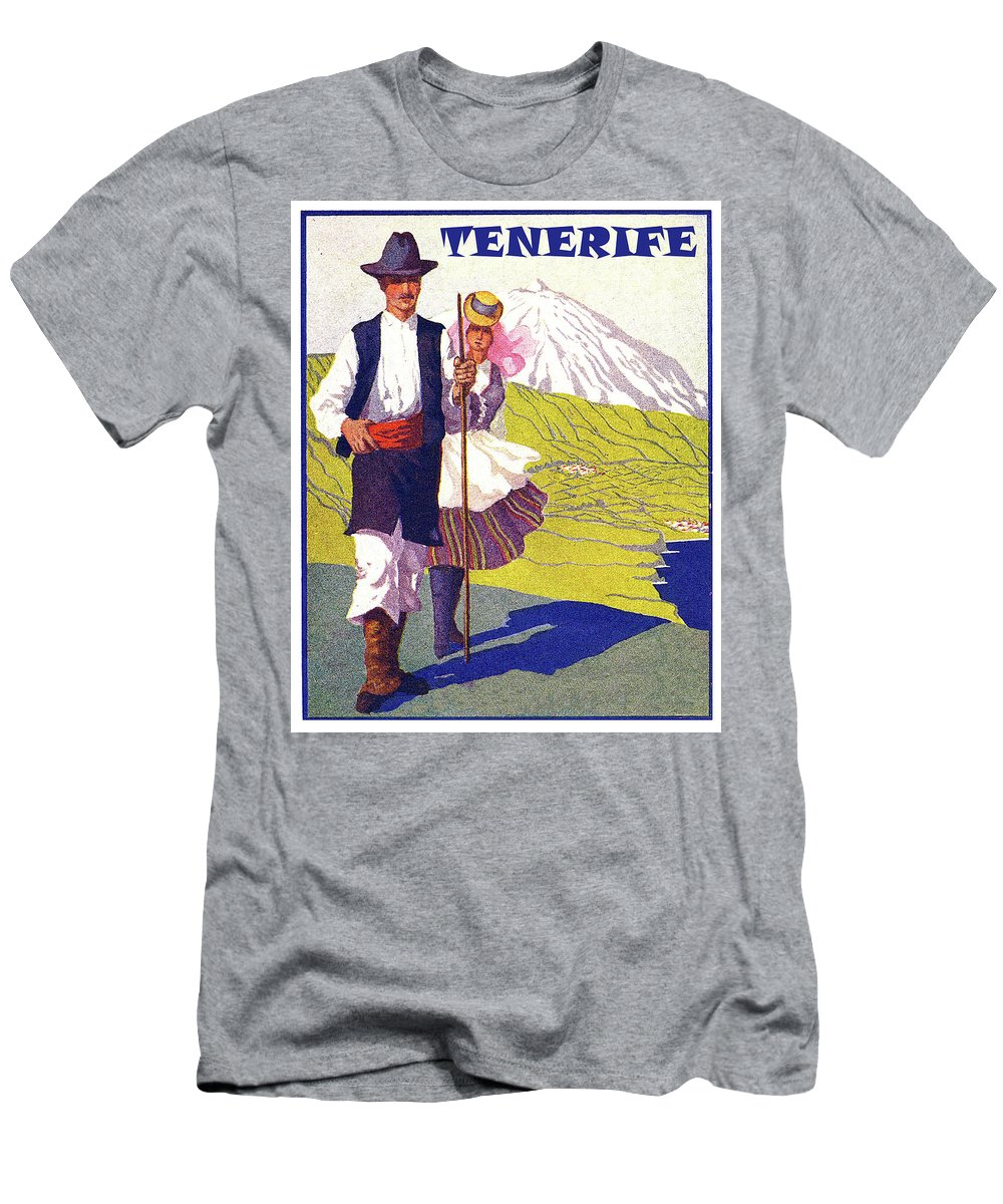 Tenerife Men's T-Shirt (Athletic Fit) featuring the painting Tenerife, Canary Islands, Couple In Traditional Costumes by Long Shot
