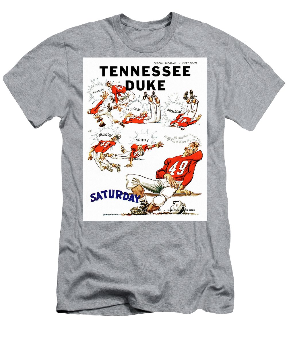 Tennessee Men's T-Shirt (Athletic Fit) featuring the painting Tennessee Versus Duke 1955 Football Program by John Farr