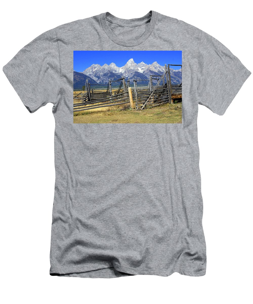 Grand Teton National Park Men's T-Shirt (Athletic Fit) featuring the photograph Teton Corral 2 by Marty Koch