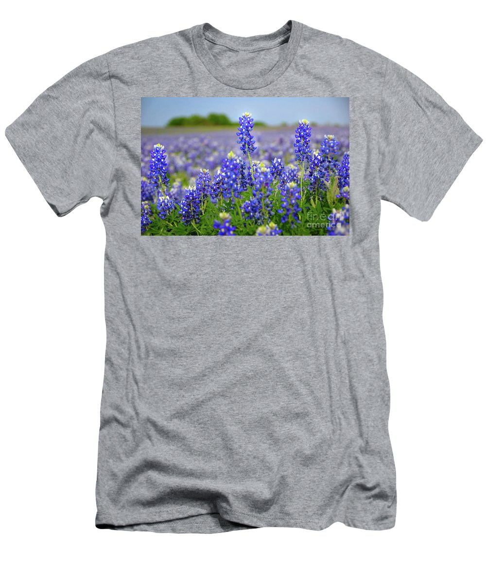 Spring Men's T-Shirt (Athletic Fit) featuring the photograph Texas Blue - Texas Bluebonnet Wildflowers Landscape Flowers by Jon Holiday