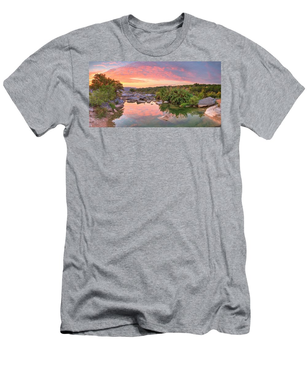 Texas Hill Country Men's T-Shirt (Athletic Fit) featuring the photograph Texas Hill Country Morning Along The Pedernales 2 by Rob Greebon