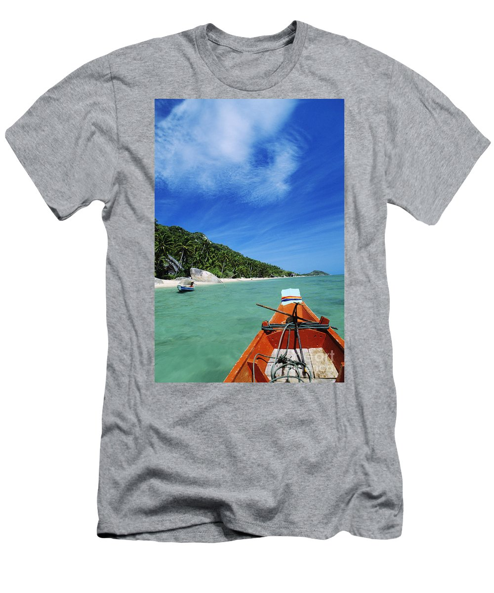 Aqua Men's T-Shirt (Athletic Fit) featuring the photograph Thailand Boat by William Waterfall - Printscapes
