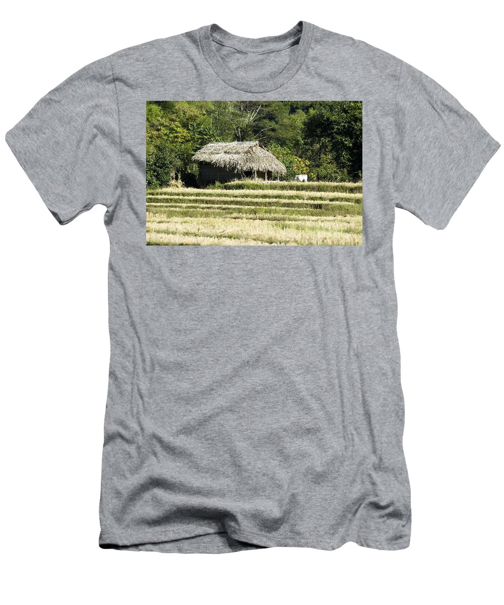 Agriculture Men's T-Shirt (Athletic Fit) featuring the photograph Thatched Shelter by Bill Brennan - Printscapes