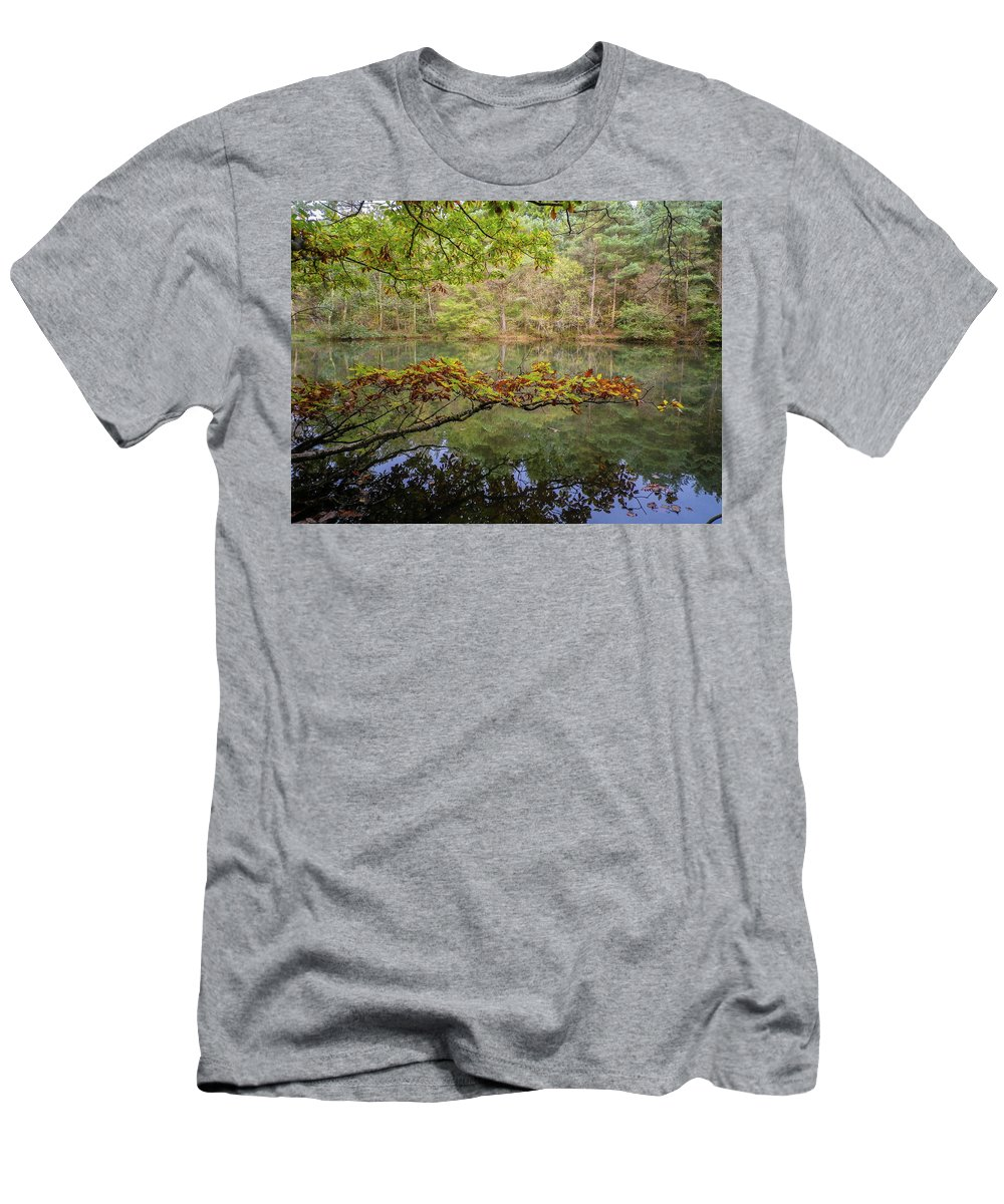 Devon Men's T-Shirt (Athletic Fit) featuring the photograph The Arsenic Lake Devon Great Consols by Richard Brookes