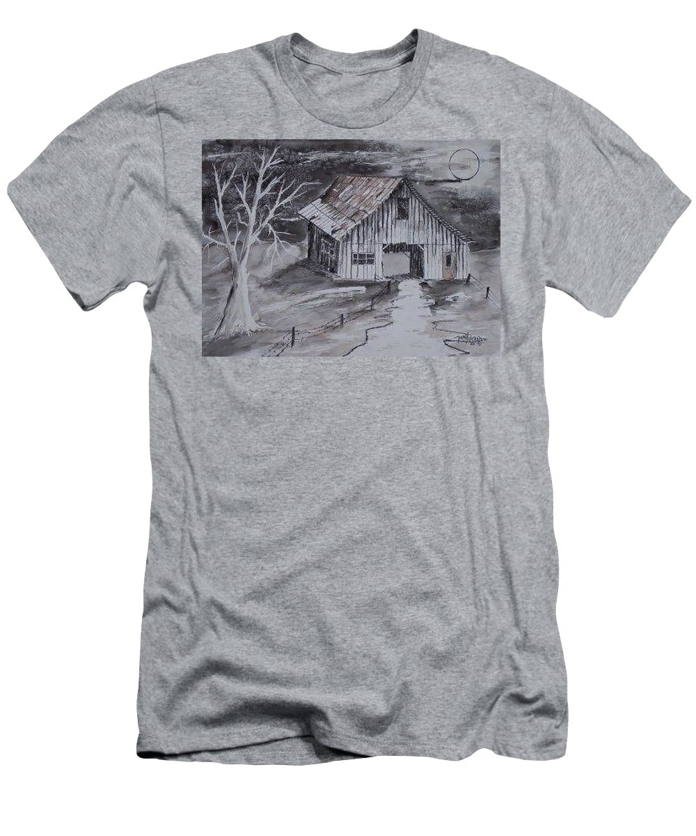 Watercolor Landscape Painting Barn Pen And Ink Painting Drawing T-Shirt featuring the painting THE BARN country pen and ink drawing by Derek Mccrea