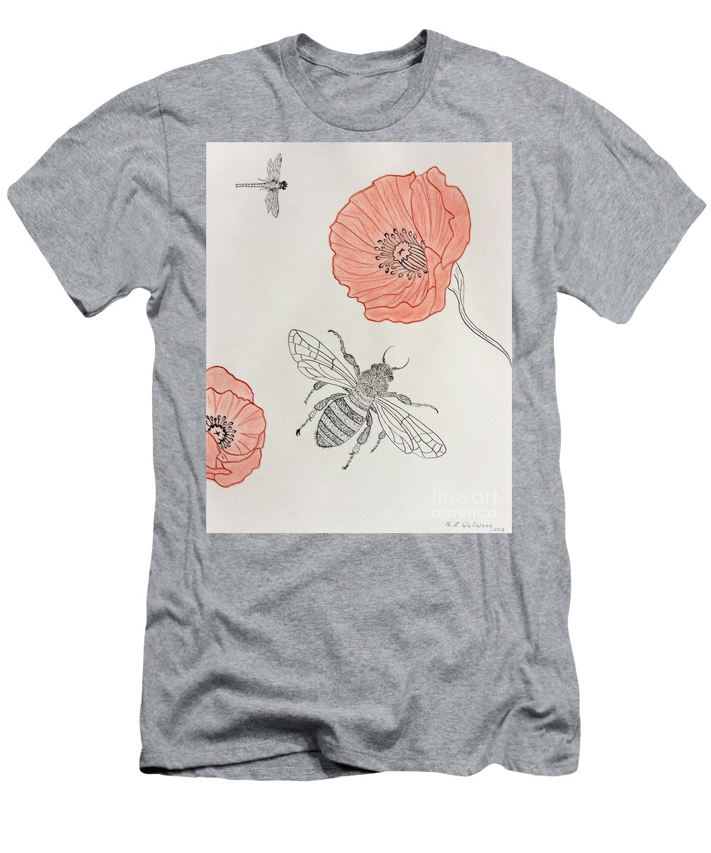 Bee Men's T-Shirt (Athletic Fit) featuring the pastel The Bee And Red Poppies by Natalia Wallwork