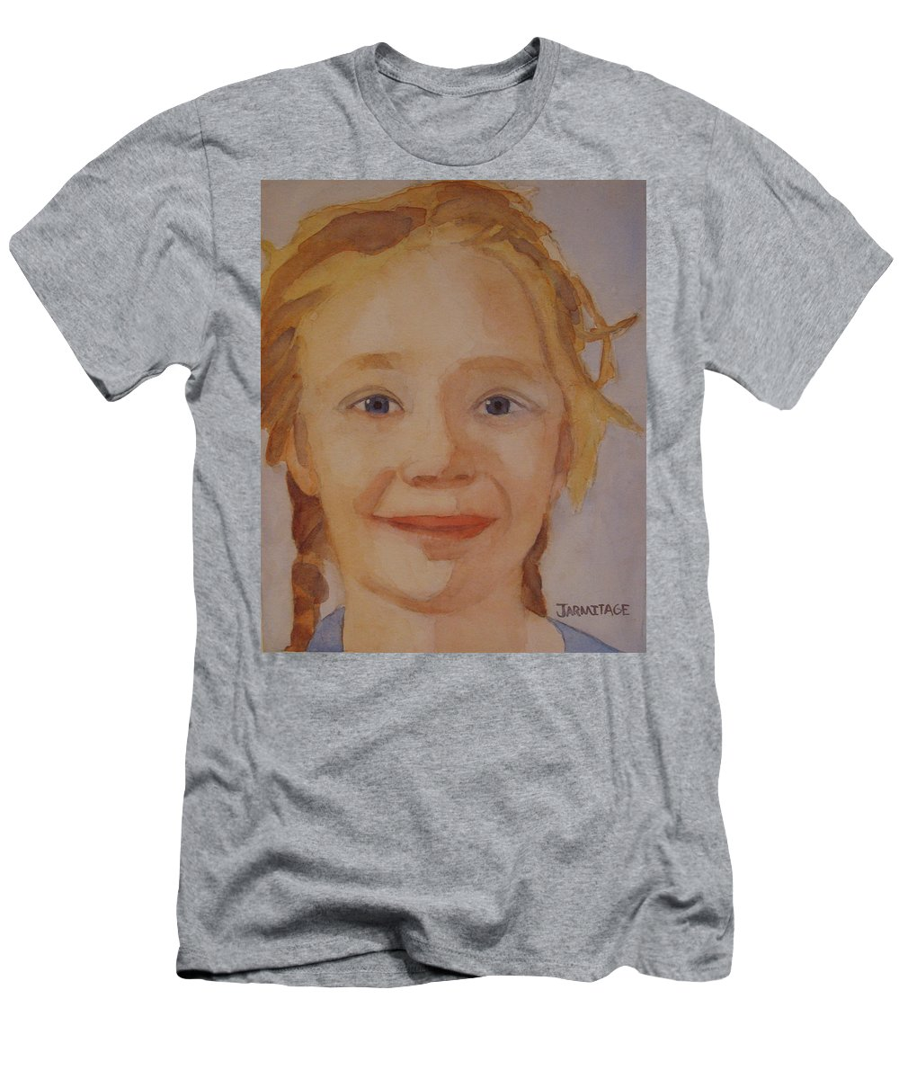 Partrait Men's T-Shirt (Athletic Fit) featuring the painting The Blue-eyed Duckling by Jenny Armitage