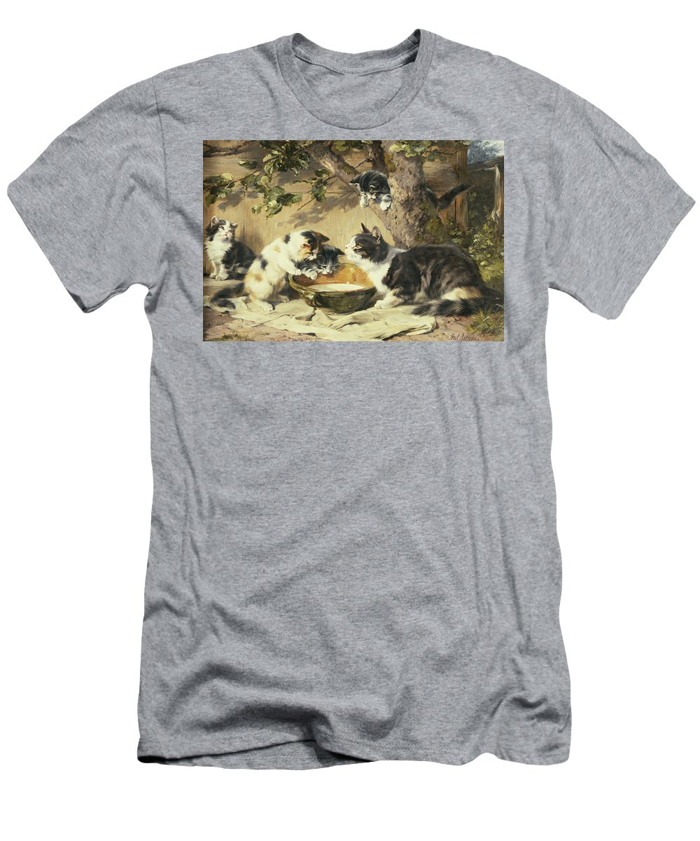 Cat Men's T-Shirt (Athletic Fit) featuring the painting The Bowl Of Milk by Julius Adam