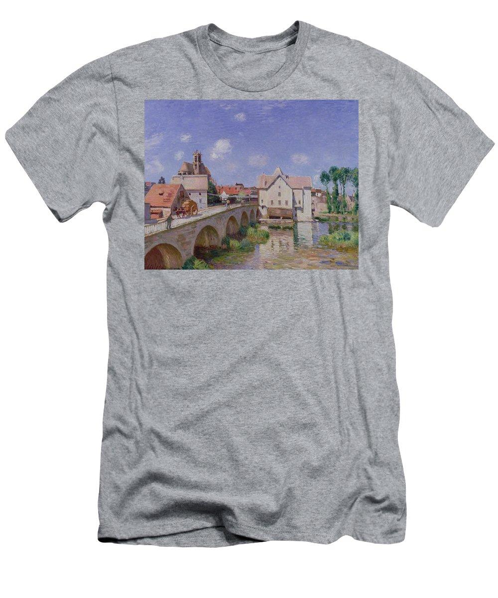 The Bridge At Moret Men's T-Shirt (Athletic Fit) featuring the painting The Bridge At Moret by Alfred Sisley