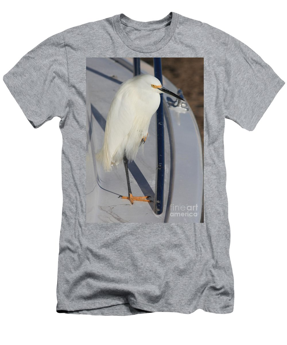 Snowy Egret Men's T-Shirt (Athletic Fit) featuring the photograph The Captain by Carol Groenen