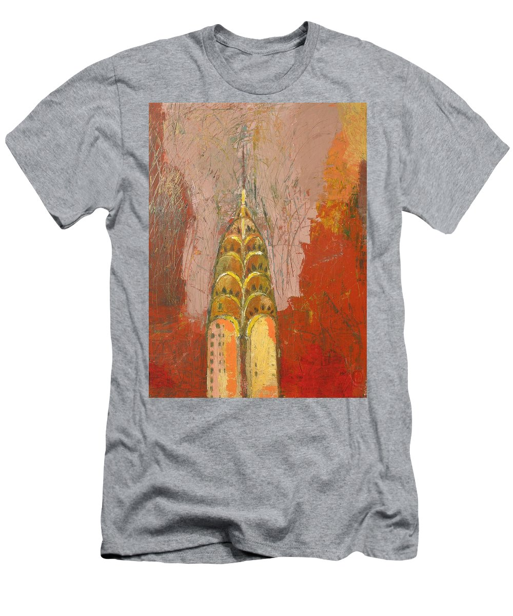 Abstract Cityscape Men's T-Shirt (Athletic Fit) featuring the painting The Chrysler In Motion by Habib Ayat