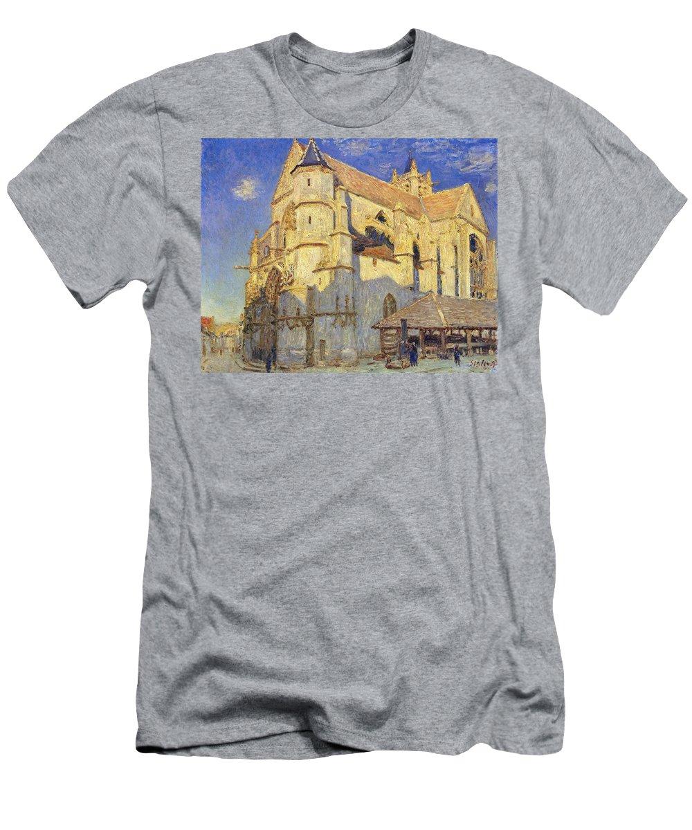The Church At Moret Men's T-Shirt (Athletic Fit) featuring the painting The Church At Moret by Alfred Sisley