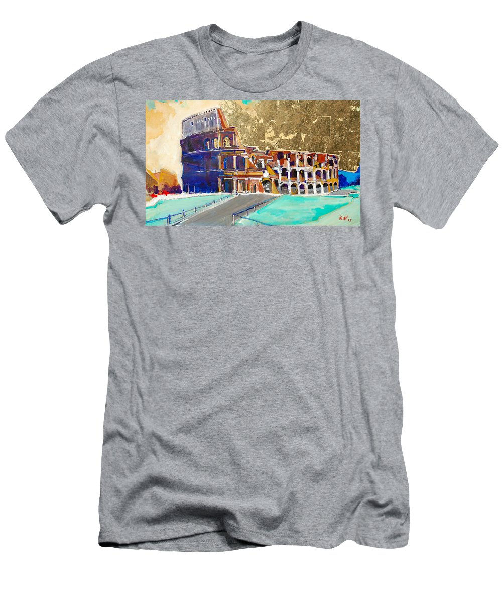 Colosseum Men's T-Shirt (Athletic Fit) featuring the painting The Colosseum by Kurt Hausmann