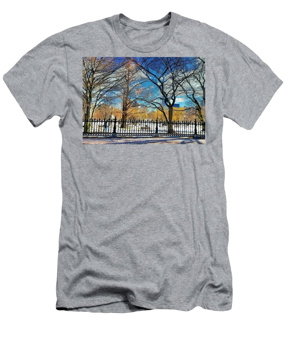 Boston Common Men's T-Shirt (Athletic Fit) featuring the photograph The Common by Andrea Garcia