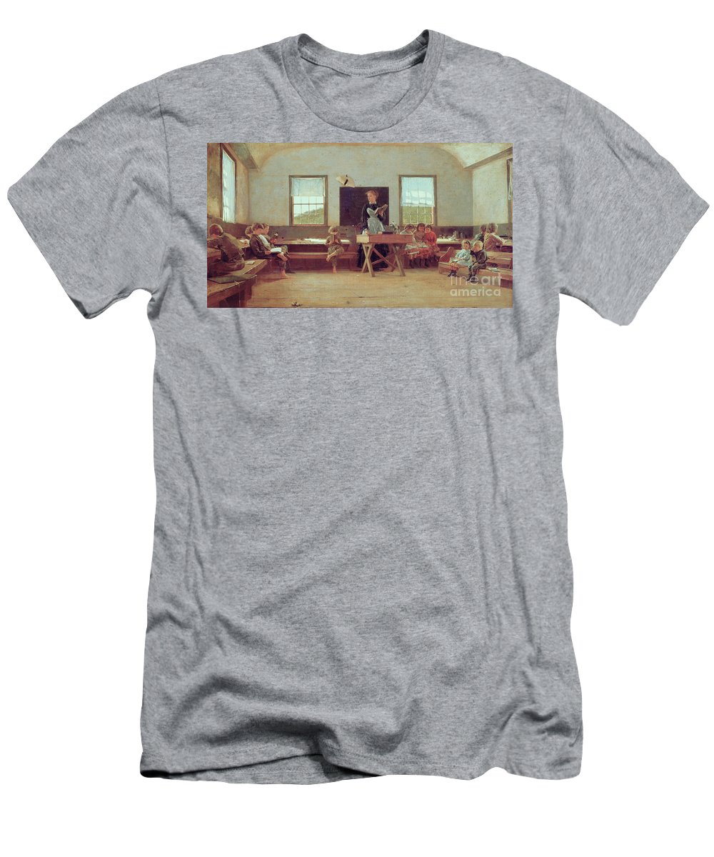 The Country School Men's T-Shirt (Athletic Fit) featuring the painting The Country School by Winslow Homer