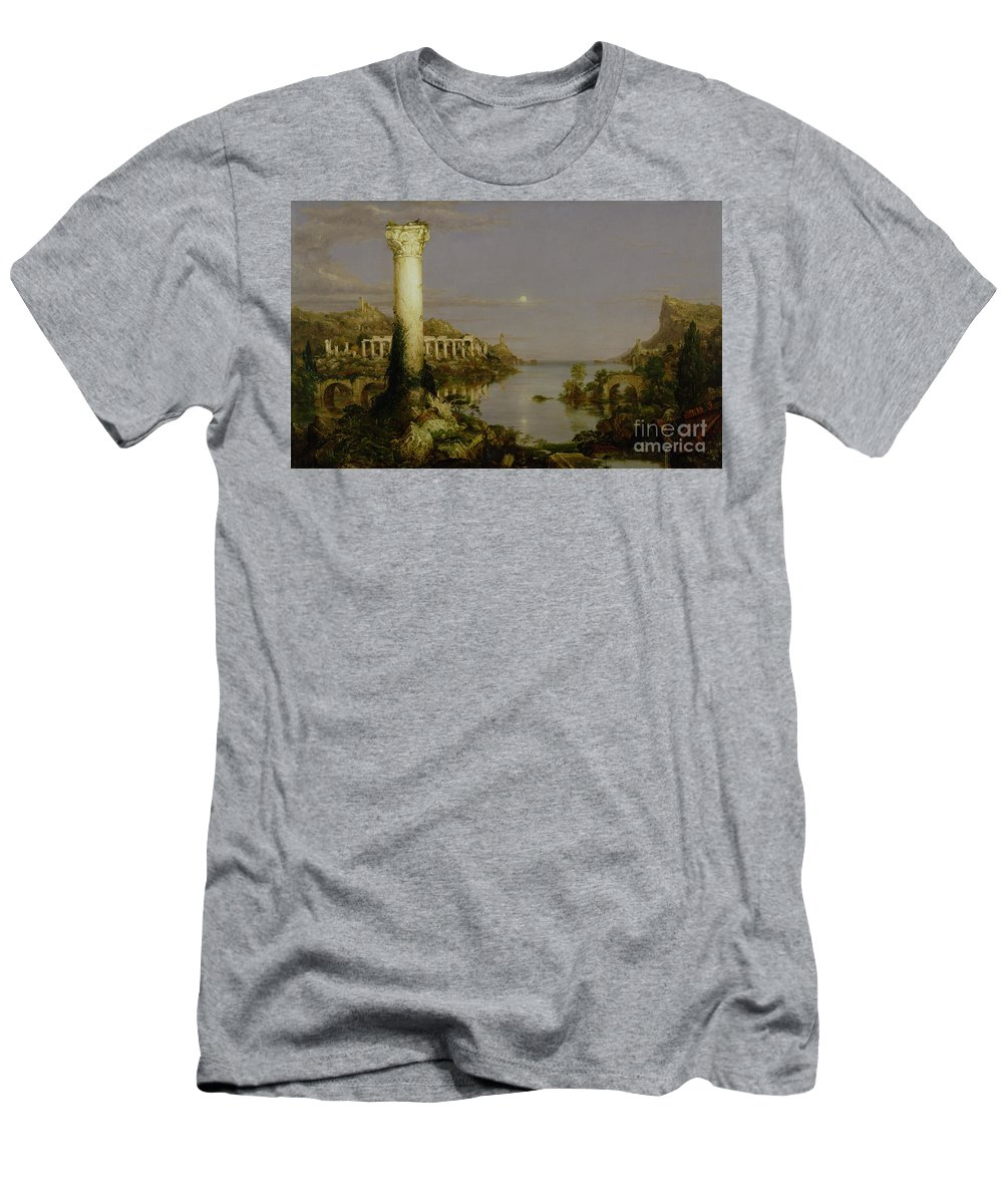 Moonlit Landscape; Classical; Architecture; Ruin; Ruins; Desolate; Bridge; Column; Hudson River School; Moon T-Shirt featuring the painting The Course Of Empire - Desolation by Thomas Cole