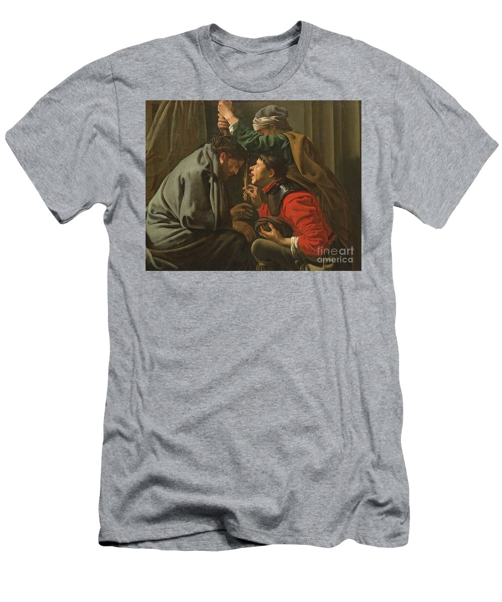 Crown Men's T-Shirt (Athletic Fit) featuring the painting The Crowning With Thorns And The Mocking Of Christ by Hendrick Ter Brugghen