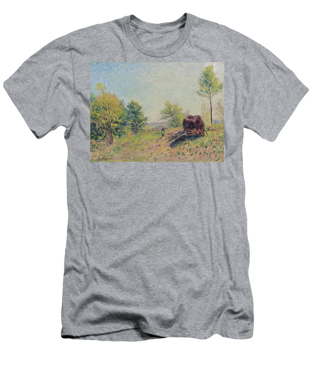 Alfred Sisley Men's T-Shirt (Athletic Fit) featuring the painting The Edge Of The Forest by Alfred Sisley