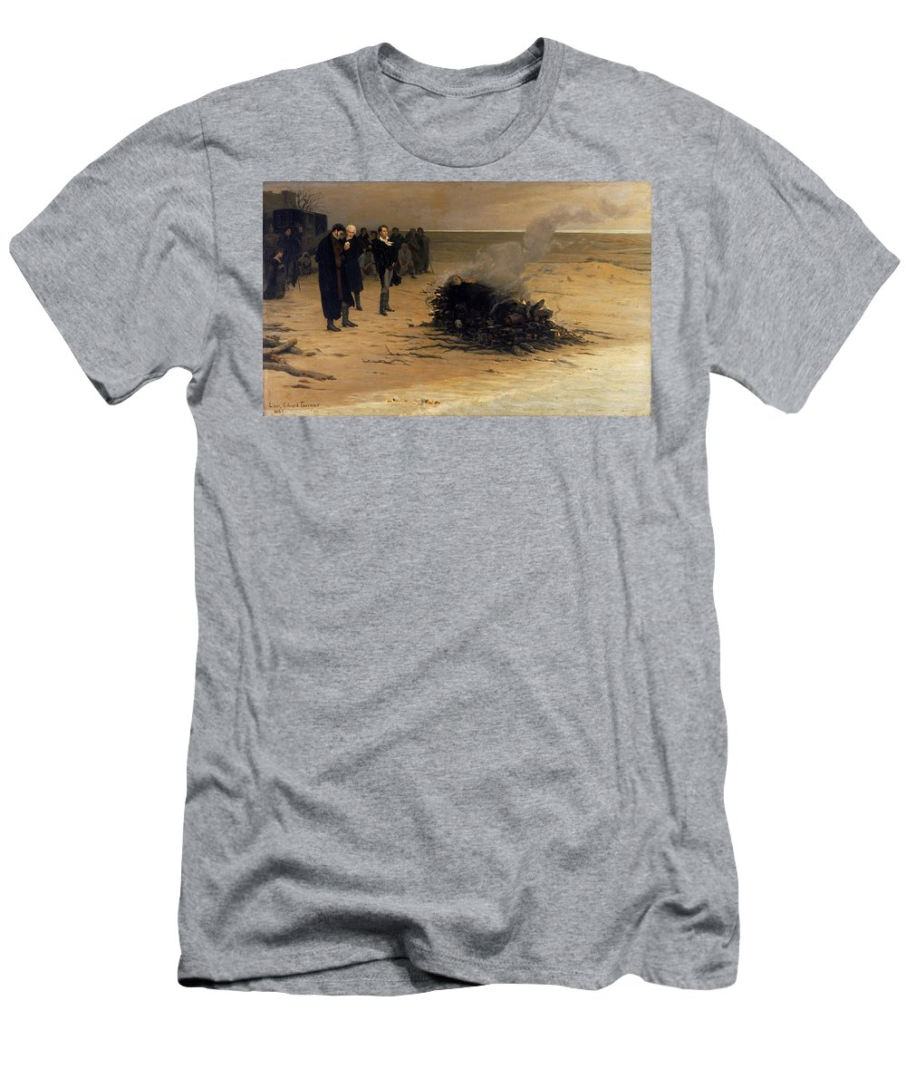 Louis Edouard Fournier Men's T-Shirt (Athletic Fit) featuring the painting The Funeral Of Shelley by Louis Edouard Fournier