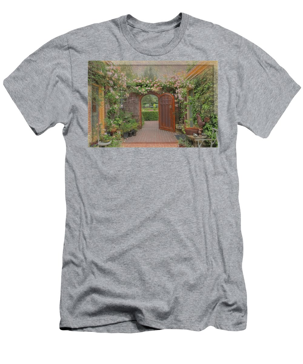 Filoli Men's T-Shirt (Athletic Fit) featuring the photograph The Garden Door by Patricia Dennis