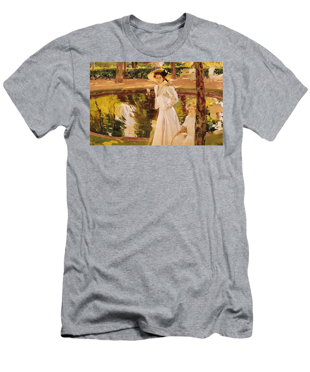Garden Men's T-Shirt (Athletic Fit) featuring the painting The Garden by Joaquin Sorolla y Bastida