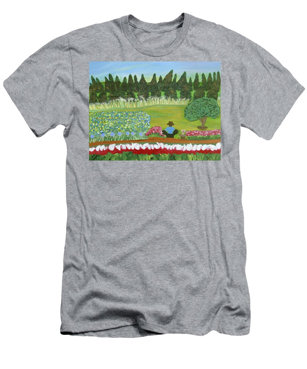 Landscape Men's T-Shirt (Athletic Fit) featuring the painting The Gardner by Sara Credito