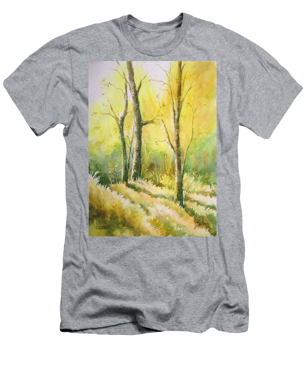 Landscapes Men's T-Shirt (Athletic Fit) featuring the painting The Golden Trio by Sandeep Khedkar