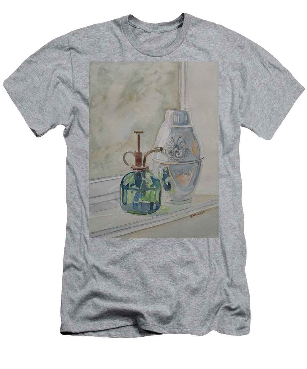 Plant Mister Men's T-Shirt (Athletic Fit) featuring the painting The Green Mister by Jenny Armitage