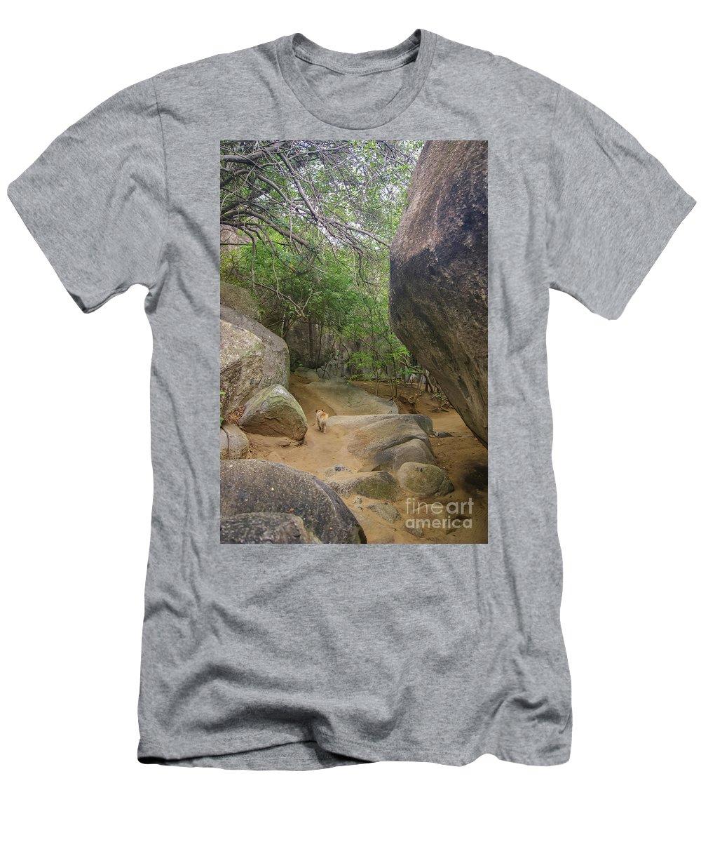 Virgin Gorda Men's T-Shirt (Athletic Fit) featuring the photograph The Guide To The Bath Virgin Gorda Island by Olga Hamilton