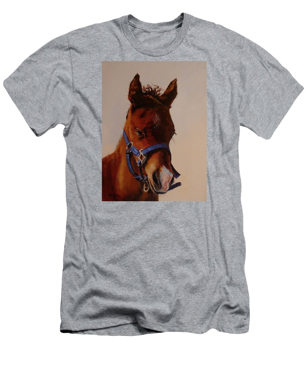 Judy Bradley T-Shirt featuring the painting The Halter by Judy Bradley