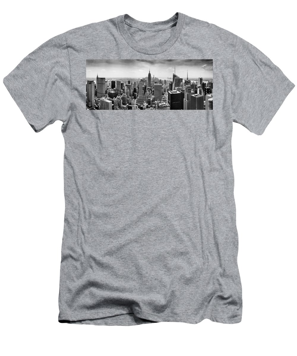 Empire State Building Men's T-Shirt (Athletic Fit) featuring the photograph New York City Skyline Bw by Az Jackson