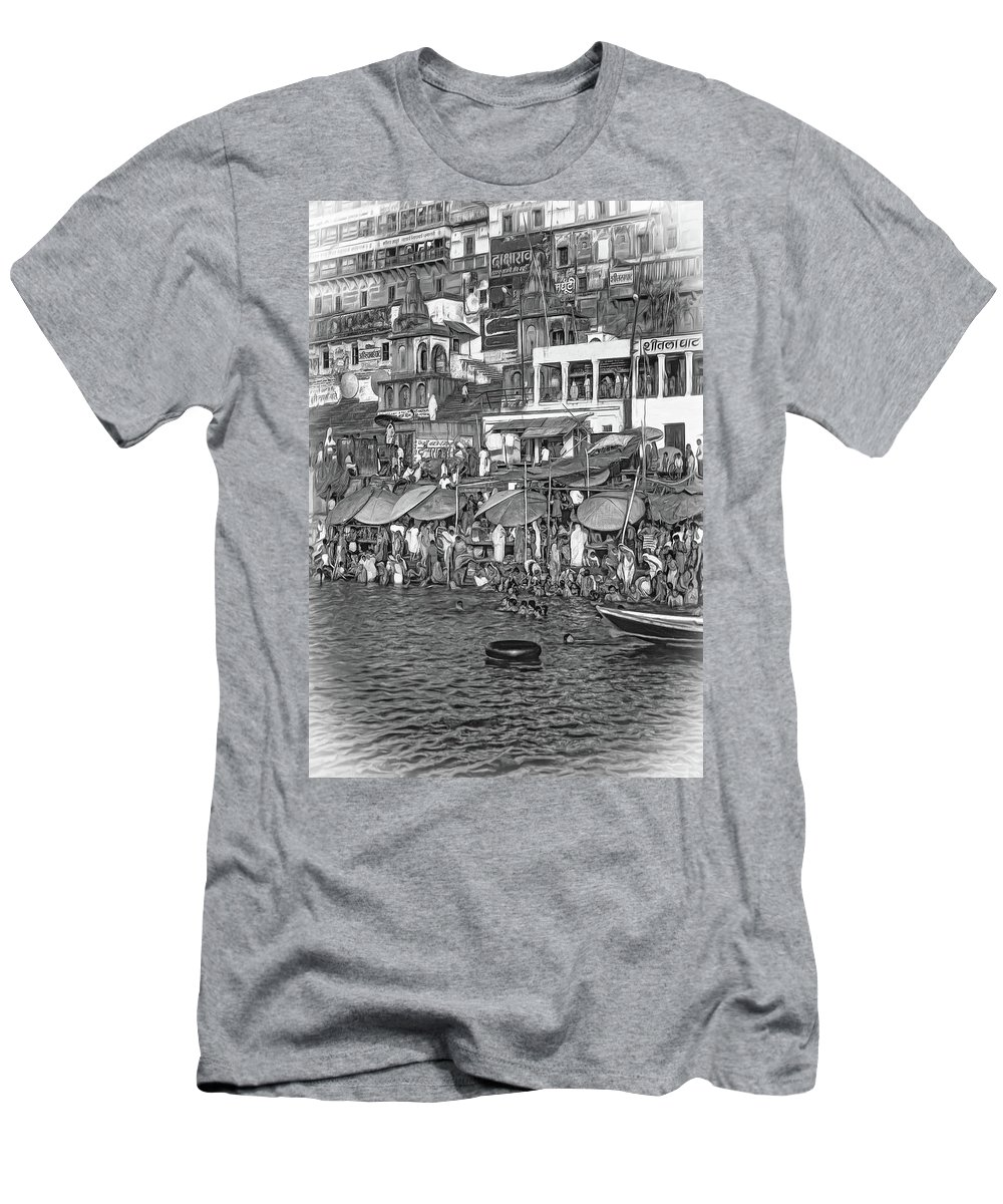 Varanasi Men's T-Shirt (Athletic Fit) featuring the photograph The Holy Ganges - Paint Bw by Steve Harrington