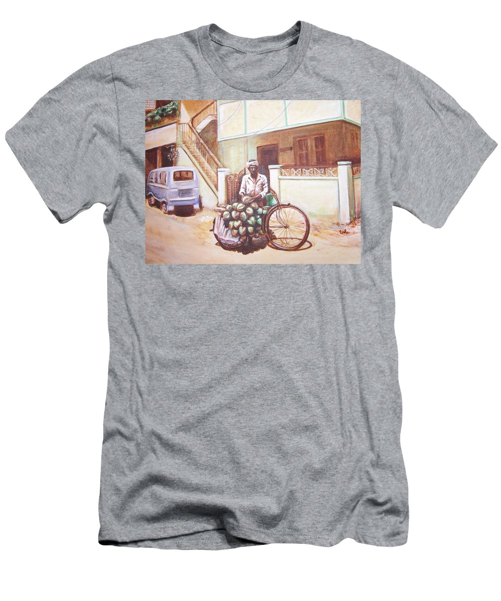 Usha Men's T-Shirt (Athletic Fit) featuring the painting The Indian Tendor-coconut Vendor by Usha Shantharam
