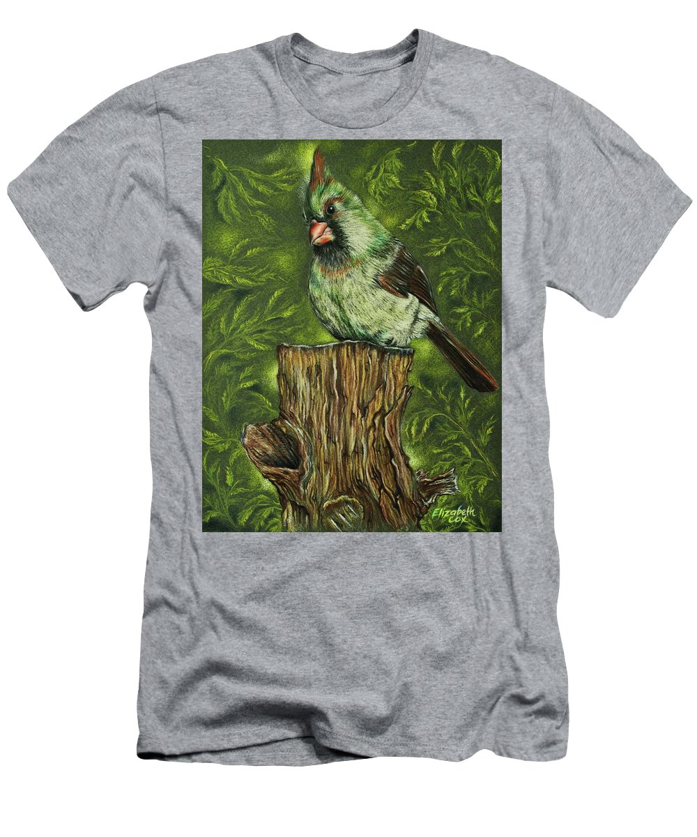 Bird Men's T-Shirt (Athletic Fit) featuring the mixed media The Lady Waits by Elizabeth Cox