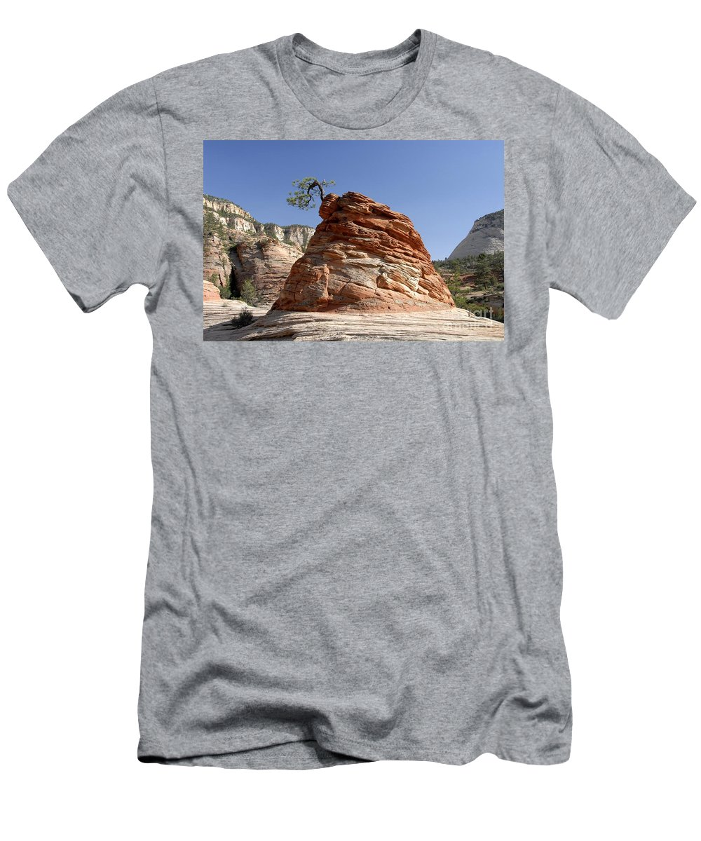 Zion National Park Utah Men's T-Shirt (Athletic Fit) featuring the photograph The Land Of Zion by David Lee Thompson