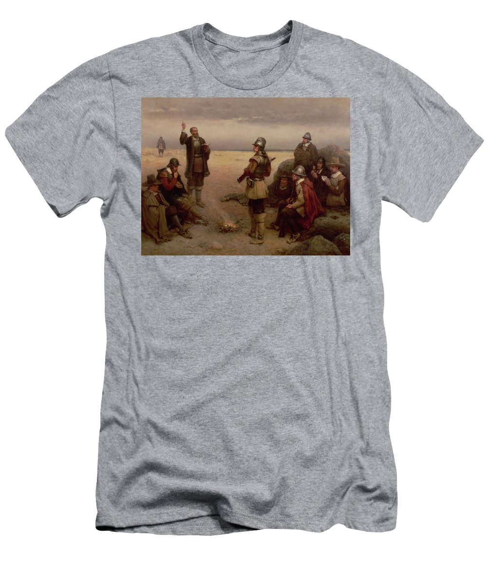 Helmet; Breast Plate; Roundhead; Round; Head; New; World; Founding; Pilgrims; Settlers; United States; Plymouth; Arrival; America; American Beach; Beach; Coast; Coastal Men's T-Shirt (Athletic Fit) featuring the painting The Landing Of The Pilgrim Fathers by George Henry Boughton