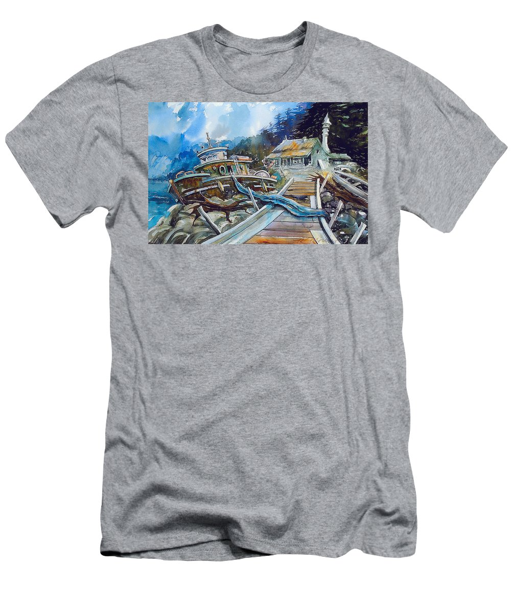 Boat T-Shirt featuring the painting The Last Bastion..on the Beach by Ron Morrison