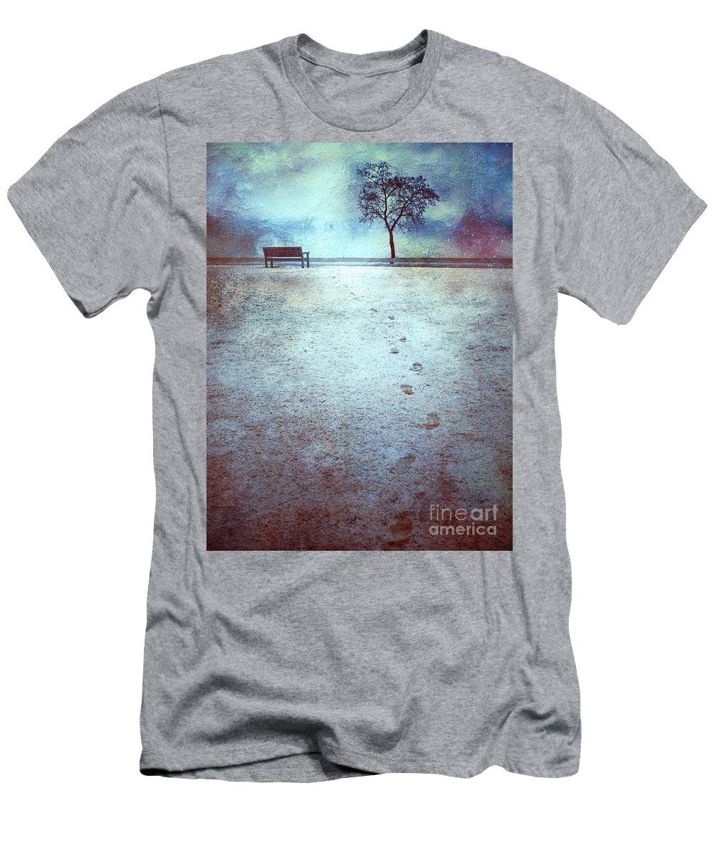 Bench Men's T-Shirt (Athletic Fit) featuring the photograph The Last Snowfall by Tara Turner