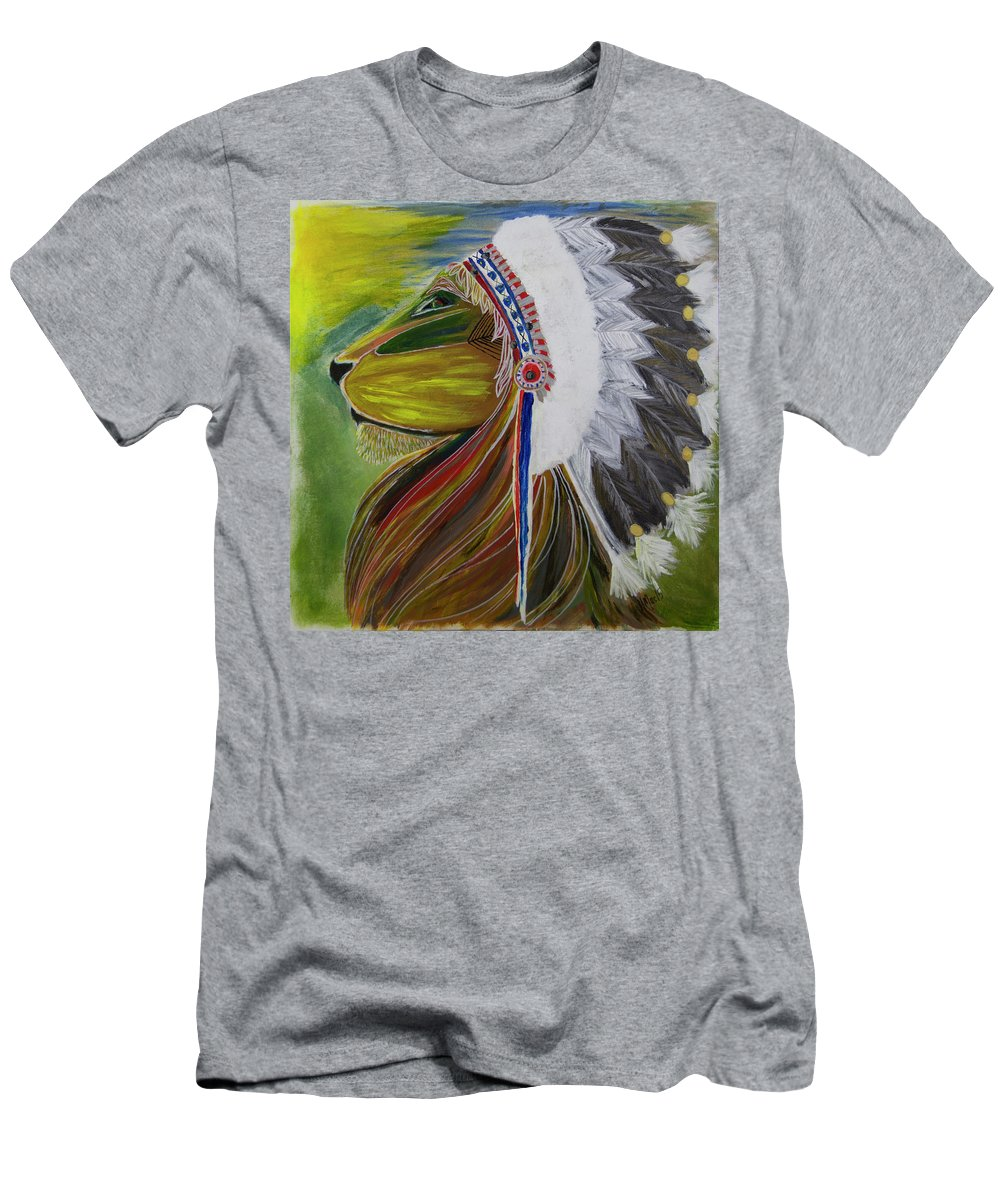 Lion Men's T-Shirt (Athletic Fit) featuring the painting Victory by Heather Macdonald