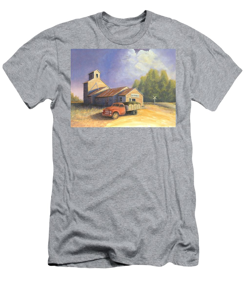 Nebraska Men's T-Shirt (Athletic Fit) featuring the painting The Lisco Elevator by Jerry McElroy