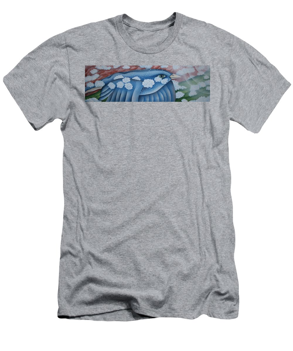 Bluebird Men's T-Shirt (Athletic Fit) featuring the greeting card The Lone Bluebird by Jeniffer Stapher-Thomas