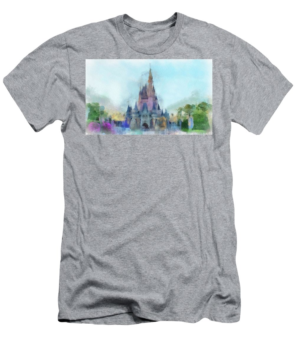 Castle Men's T-Shirt (Athletic Fit) featuring the photograph The Magic Kingdom Castle Wdw 05 Photo Art by Thomas Woolworth
