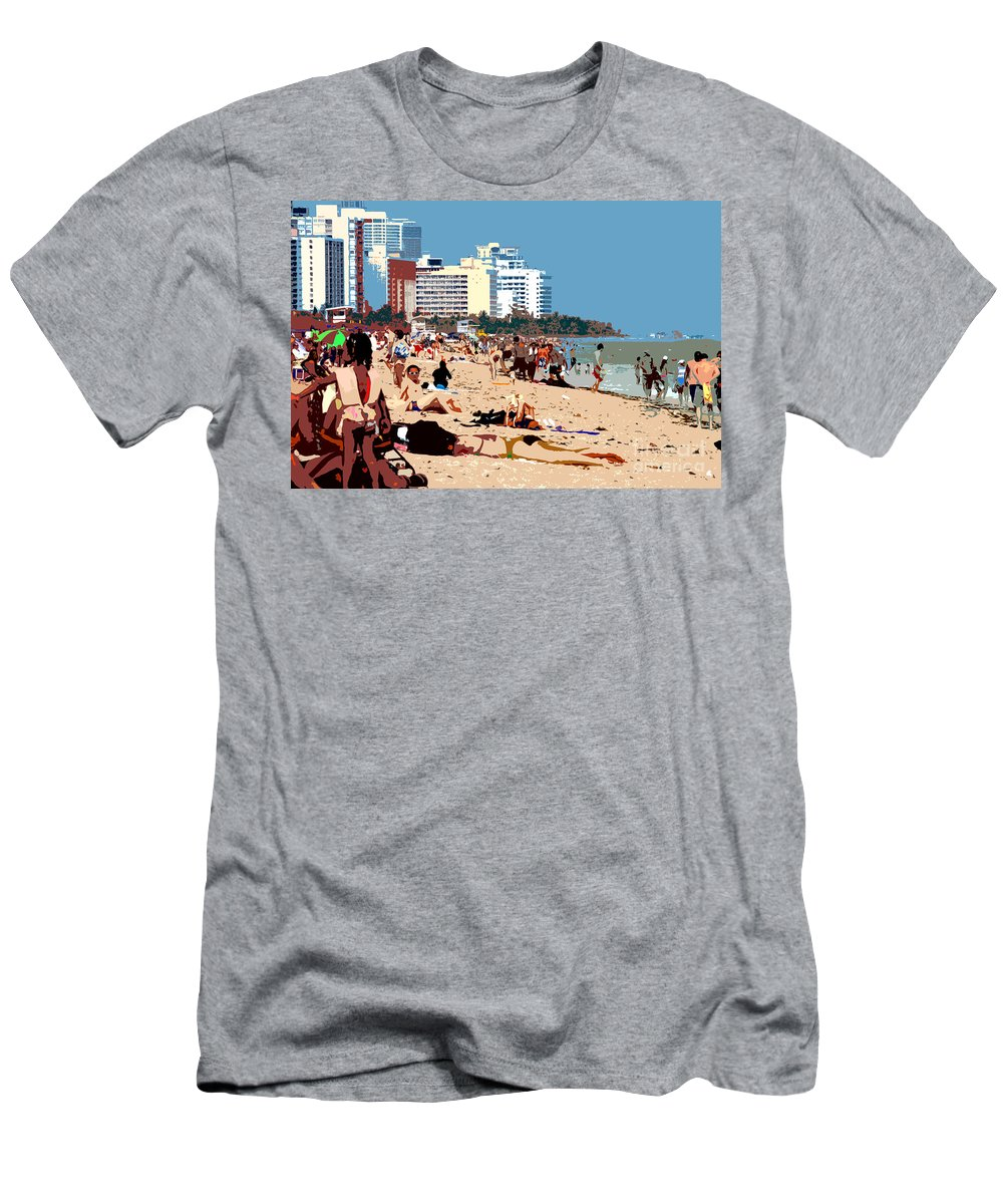 Miami Beach Florida Men's T-Shirt (Athletic Fit) featuring the photograph The Miami Beach by David Lee Thompson