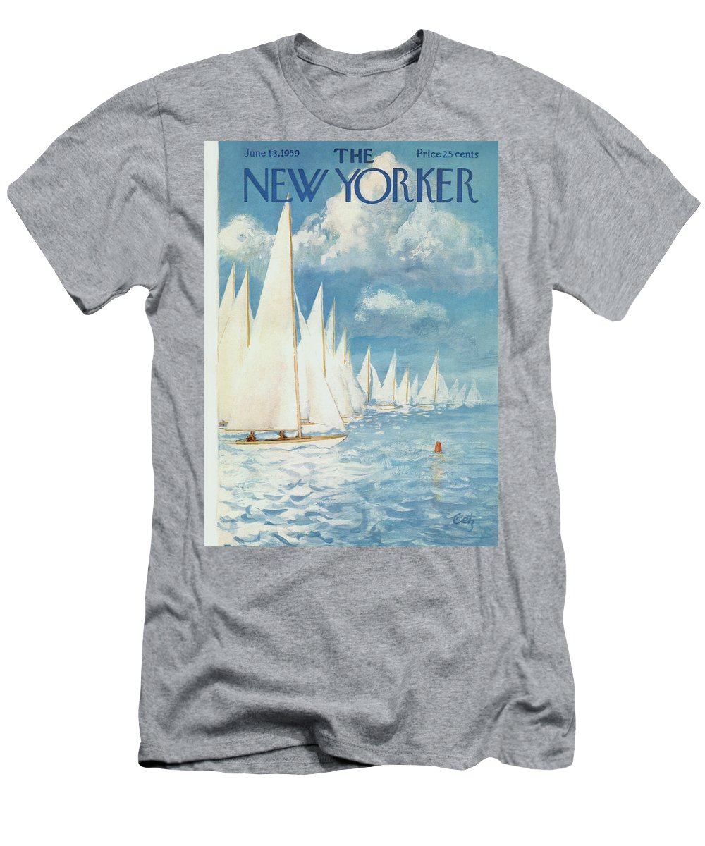 Arthur T-Shirt featuring the painting New Yorker Cover - June 13th, 1959 by Arthur Getz