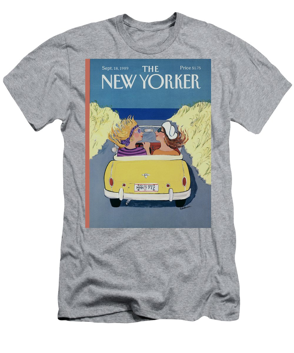 Autos Men's T-Shirt (Athletic Fit) featuring the photograph The New Yorker Cover - September 18th, 1989 by Barbara Westman