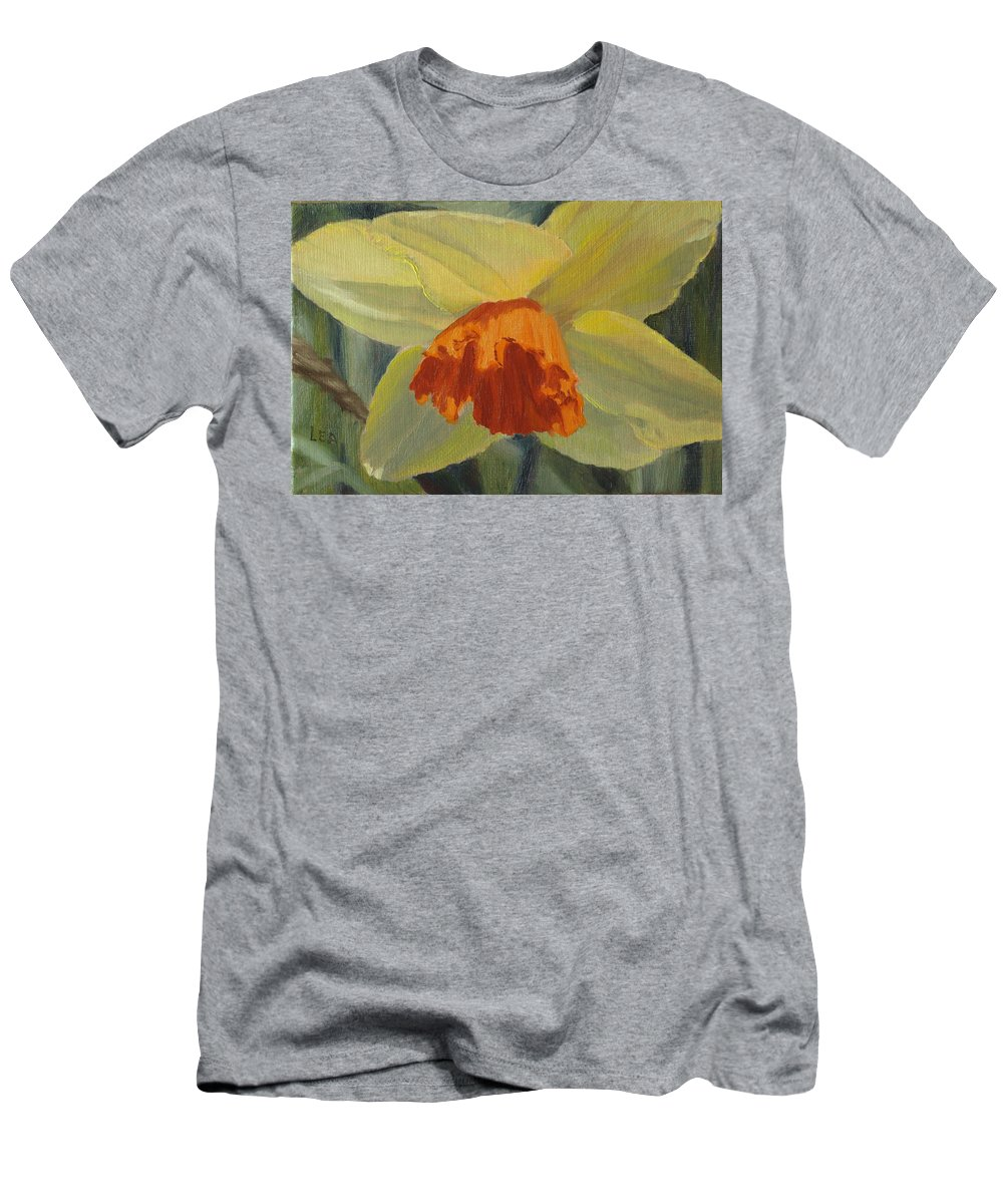 Flower Men's T-Shirt (Athletic Fit) featuring the painting The Nodding Daffodil by Lea Novak