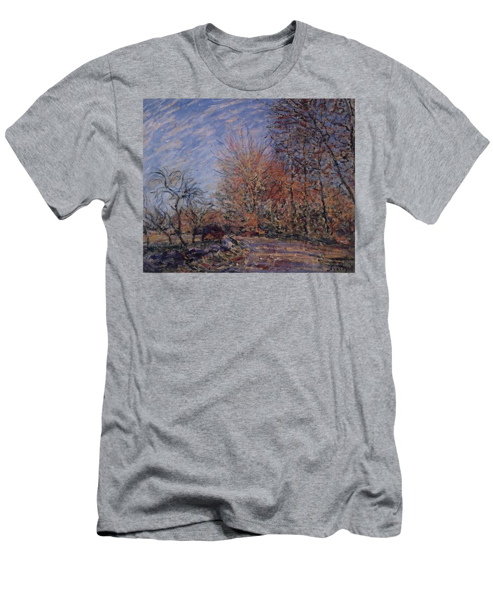 The Outskirts Of The Fontainebleau Forest Men's T-Shirt (Athletic Fit) featuring the painting The Outskirts Of The Fontainebleau Forest by MotionAge Designs