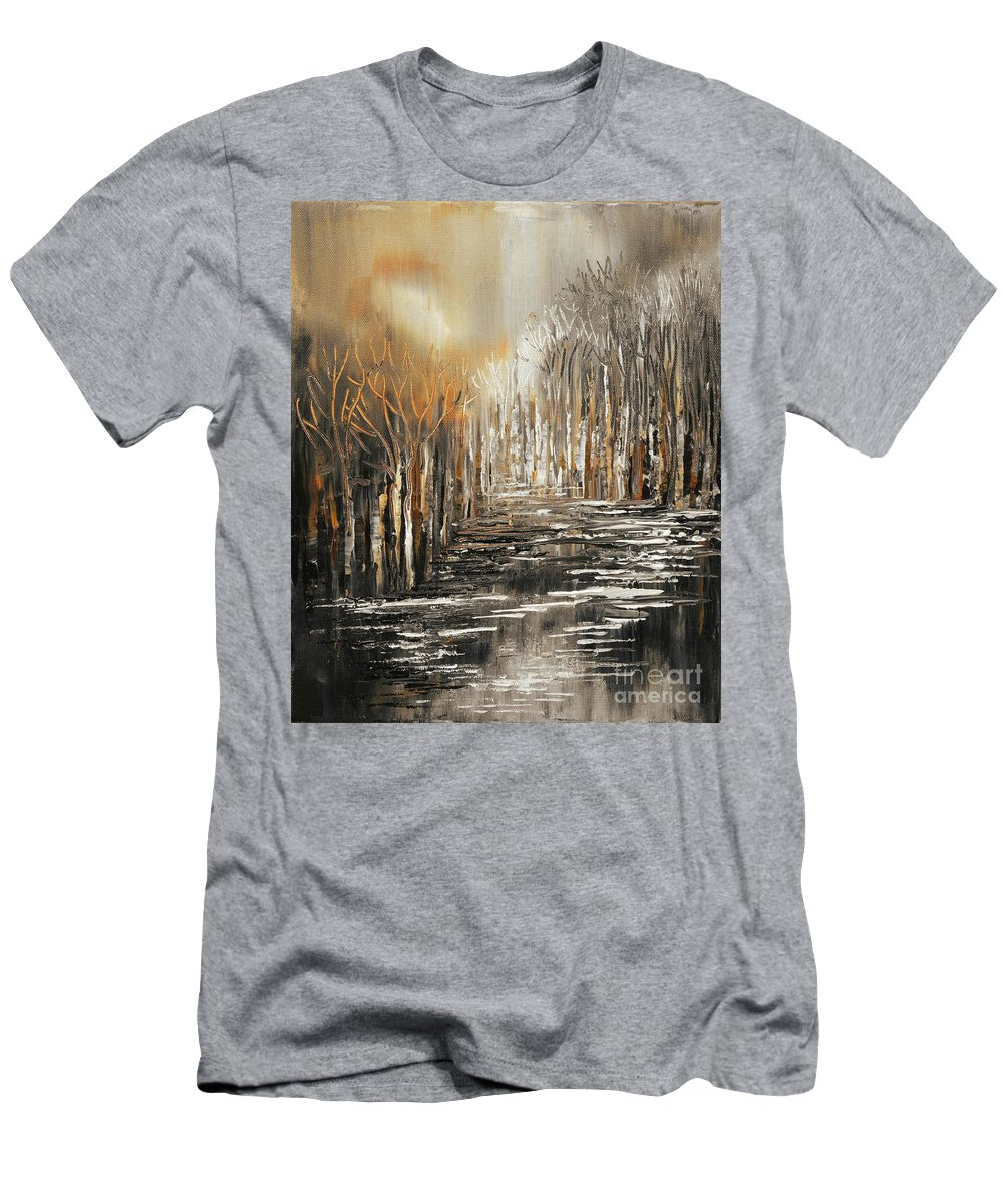 Impressionist Men's T-Shirt (Athletic Fit) featuring the painting The Owl's Voice by Tatiana Iliina