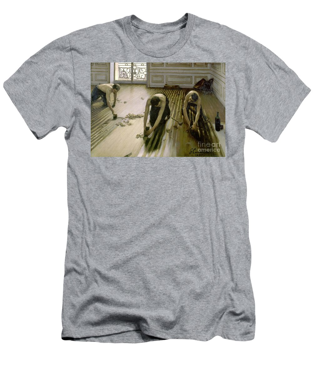 Paris Men's T-Shirt (Athletic Fit) featuring the painting The Parquet Planers - Gustave Caillebotte by Gustave Caillebotte