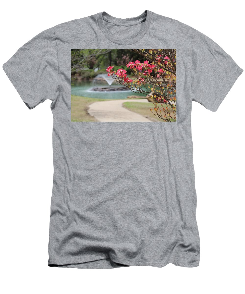 Pink Dogwood Men's T-Shirt (Athletic Fit) featuring the photograph The Path To The Fountain by Carolyn Fletcher